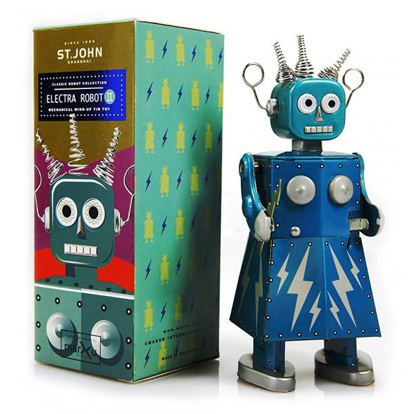 Saint John - Electra Robot - Giocattolo di Latta Retro da Collezione Meccanico a Carica - Blu - Tin Toys