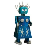 Saint John - Electra Robot - Collectible Retro Wind Up Tin Toy - Blue - Tin Toys