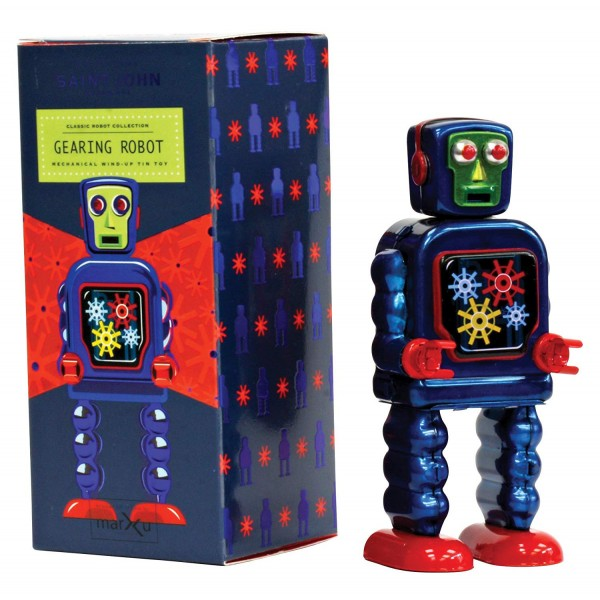 Saint John - Gearing Robot - Collectible Retro Wind Up Tin Toy - Red and Blue - Tin Toys