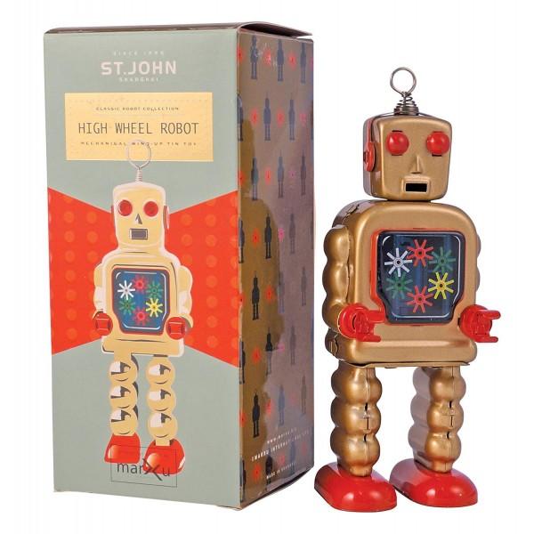 Saint John - High Wheel Robot - Giocattolo di Latta Retro da Collezione Meccanico a Carica - Oro / Bronzo - Tin Toys