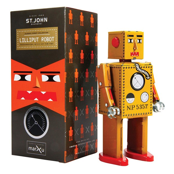 Saint John - Lilliput Robot - Collectible Retro Wind Up Tin Toy - Yellow - Tin Toys