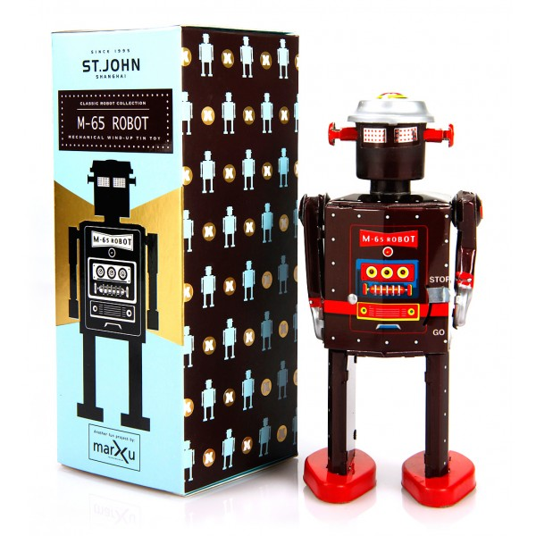 Saint John - M-65 Robot - Collectible Retro Wind Up Tin Toy - Brown - Tin Toys