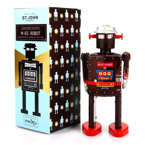 Saint John - M-65 Robot - Giocattolo di Latta Retro da Collezione Meccanico a Carica - Marrone - Tin Toys