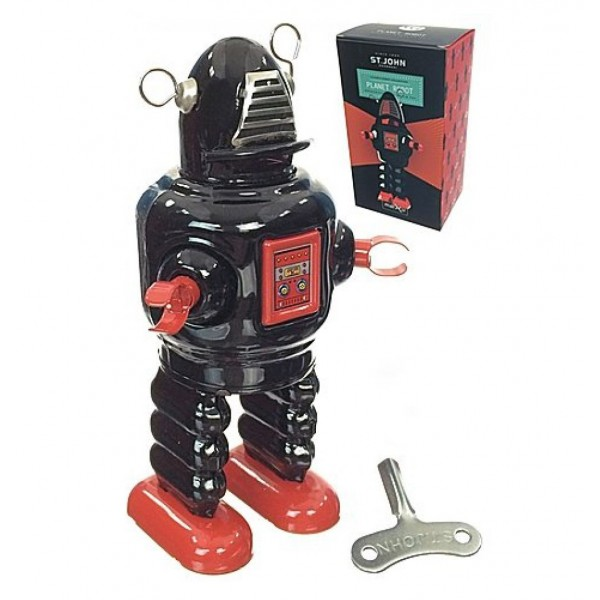 Saint John - Planet Robot - Collectible Retro Wind Up Tin Toy - Black - Tin Toys