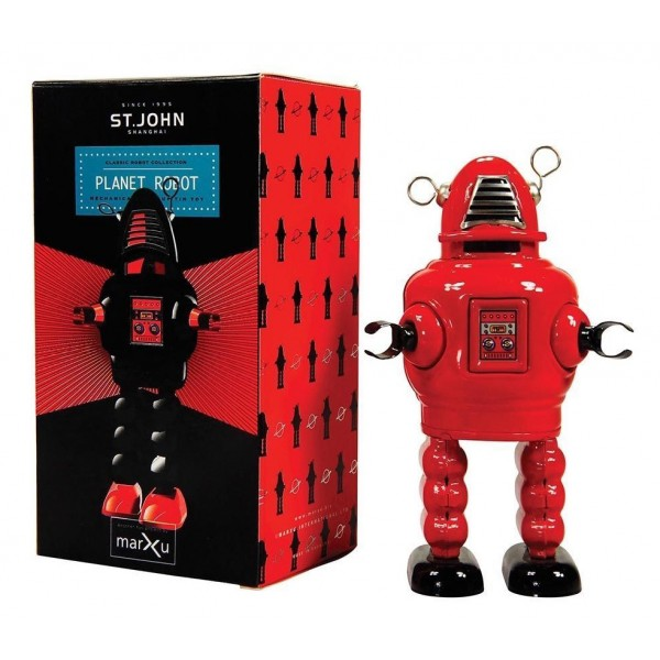 Saint John - Planet Robot - Collectible Retro Wind Up Tin Toy - Red - Tin Toys