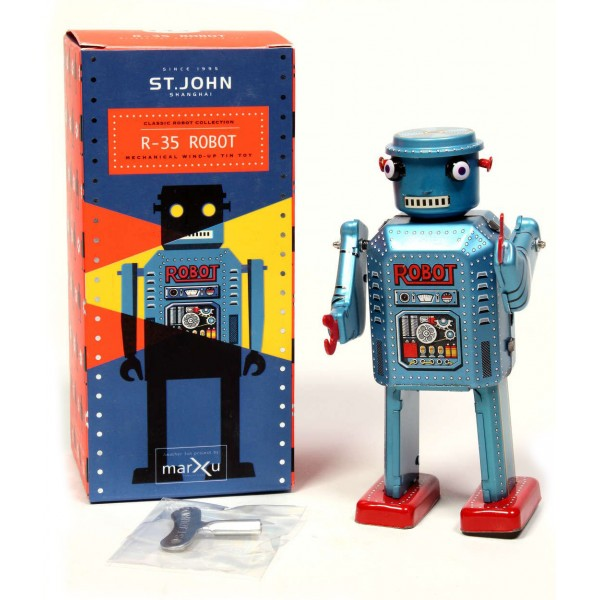 Saint John - R-35 Robot - Collectible Retro Wind Up Tin Toy - Metallic Blue- Tin Toys