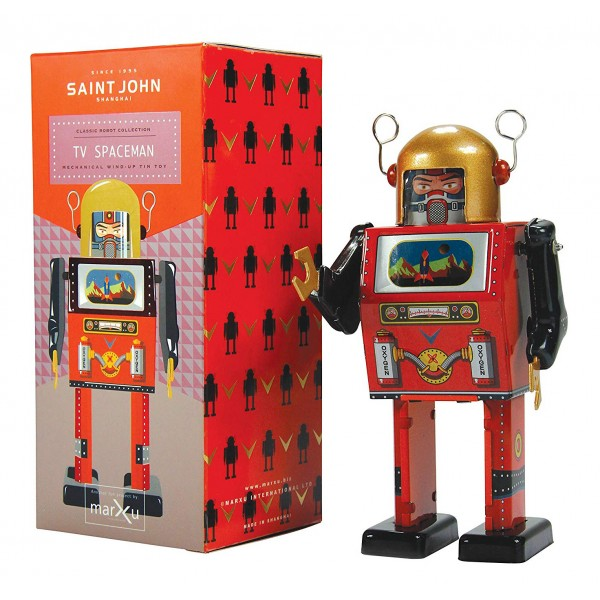 Saint John - TV Spaceman - Collectible Retro Wind Up Tin Toy - Red and Black- Tin Toys