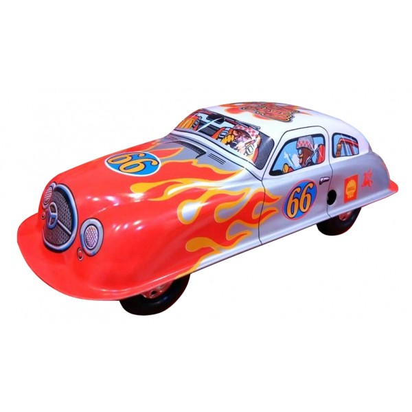 Saint John - Hot Racer Car - Collectible Retro Wind Up Tin Toy - Red Silver White - Tin Toys
