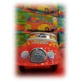 Saint John - Hot Racer Automobile - Giocattolo di Latta Retro da Collezione Meccanico a Carica - Rosso Argento Bianco - Tin Toys