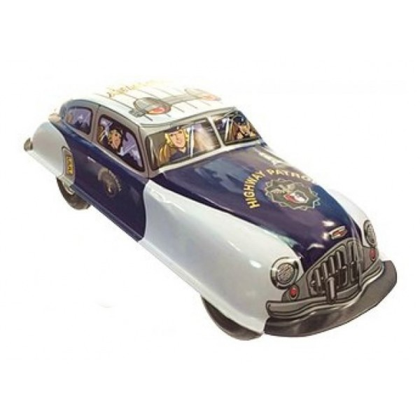 Saint John - Hwy Patrol Highway Car - Collectible Retro Wind Up Tin Toy - White Blue Silver - Tin Toys