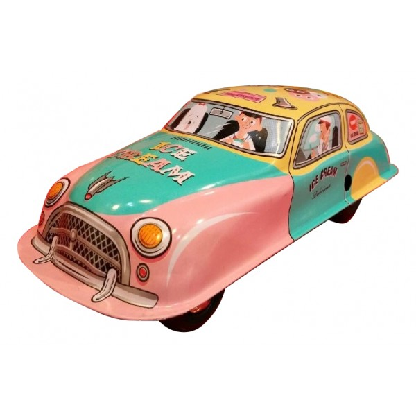 Saint John - Ice Cream Wagon Car - Collectible Retro Wind Up Tin Toy - Pink Turquoise Yellow - Tin Toys