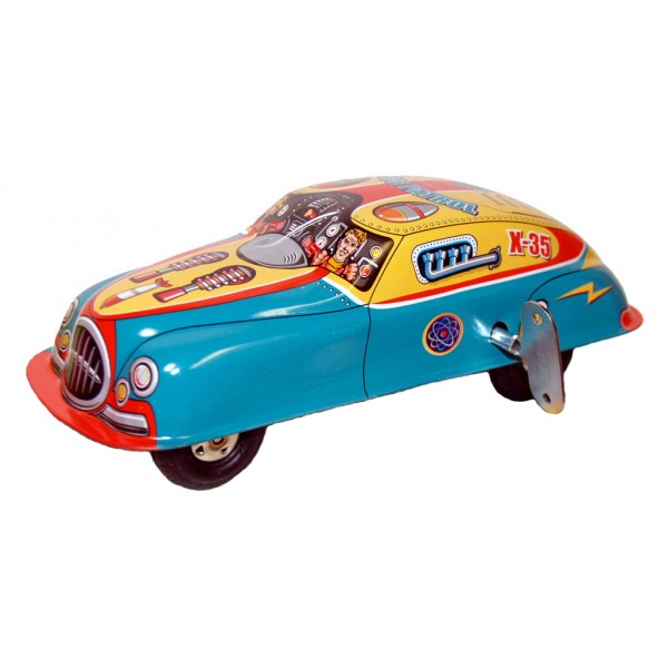 Saint John - Space Patrol Car - Collectible Retro Wind Up Tin Toy - Yellow Red Blue - Tin Toys