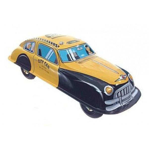 Saint John - Taxi Automobile - Giocattolo di Latta Retro da Collezione Meccanico a Carica - Giallo Nero - Tin Toys