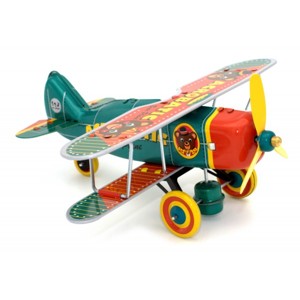 Saint John - Acrobatic Bear Plane Aeroplano Acrobatico Orso - Collectible Retro Wind Up Tin Toy - Metallic Blue Red - Tin Toys