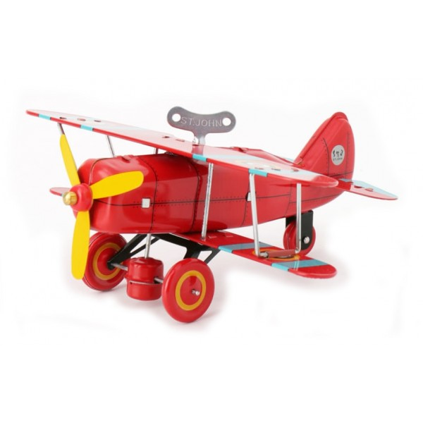 Saint John - Biplane Fighter - Collectible Retro Wind Up Tin Toy - Red - Tin Toys