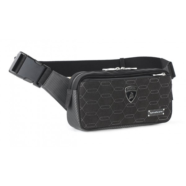 TecknoMonster - Automobili Lamborghini - Zingo Waist Bag in Carbon Fiber and Alcantara® - Black Carpet Collection