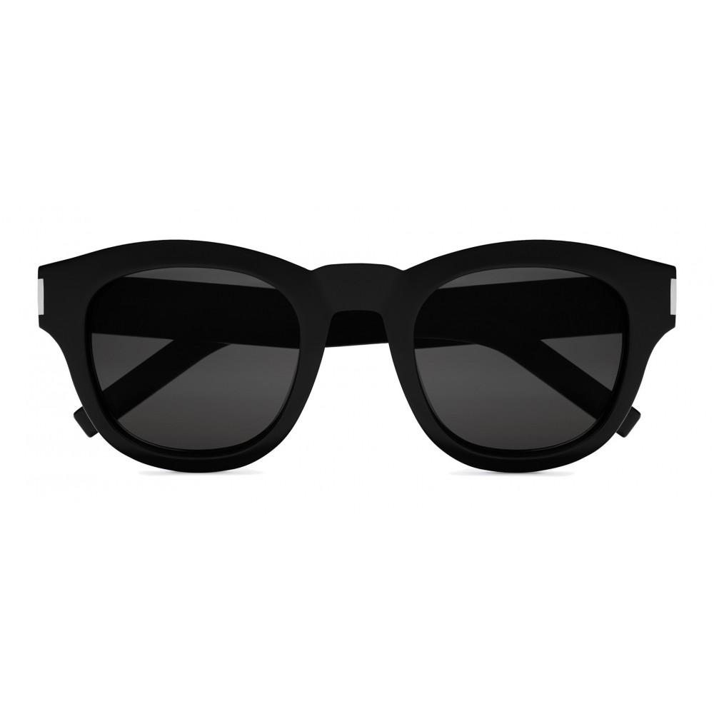 b847fc87338 Yves Saint Laurent - Bold SL2 Sunglasses with Round Thick Frames and Nylon  Lenses - Black - Saint Laurent Eyewear - Avvenice