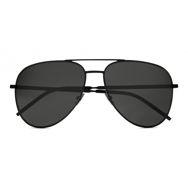 Yves Saint Laurent - Classic SL 11 Folk Aviator Sunglasses with Double Metal Bridge - Black - Saint Laurent Eyewear