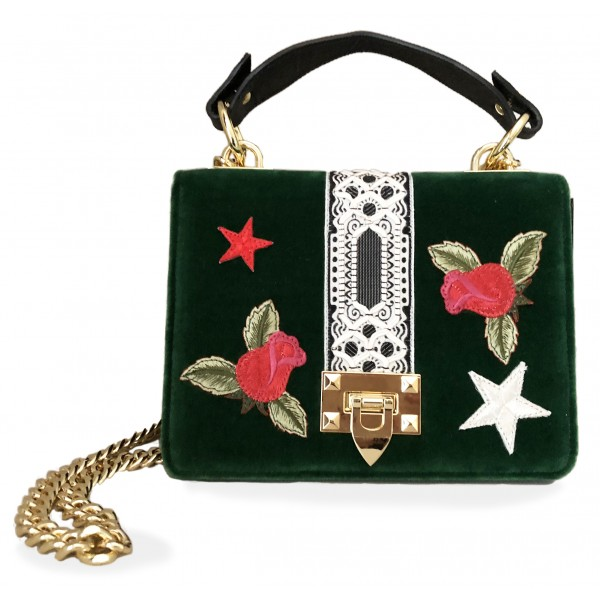 Kristina MC - Mini Bag Cahier - Clutch Bag with Chain - Velvet Saffiano Calfskin - Forest Green -  - High Quality Leather