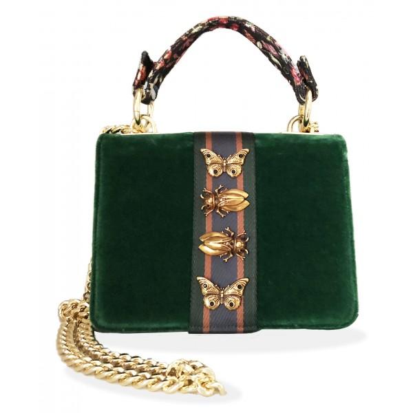Kristina MC - Mini Bag Cahier - Borsa Pochette con Catena - Velluto Tessuto in Gabardina - Verde Foresta - Artigianale