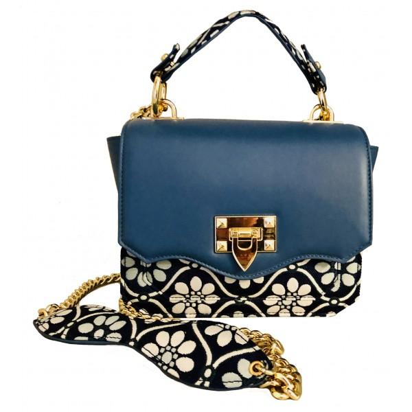 Kristina MC - Mini Bag - Borsa Pochette con Catena - Pelle Nappa Tessuto Floreale Jaquard Double - Blu - Artigianale in Pelle