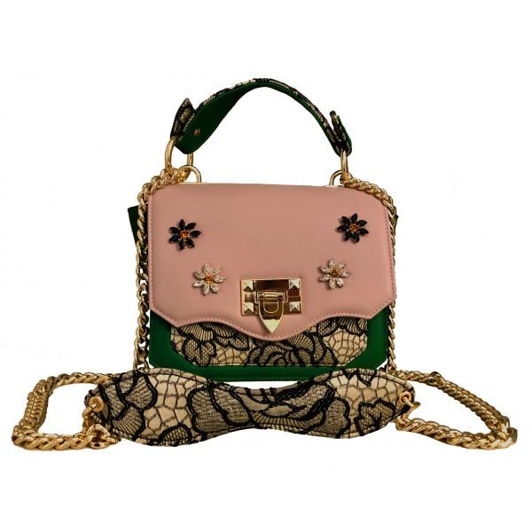 Kristina MC - Mini Bag - Borsa Pochette con Catena - Pelle Nappa Floreale Jaquard Double - Swarovski - Rosa Verde - Artigianale