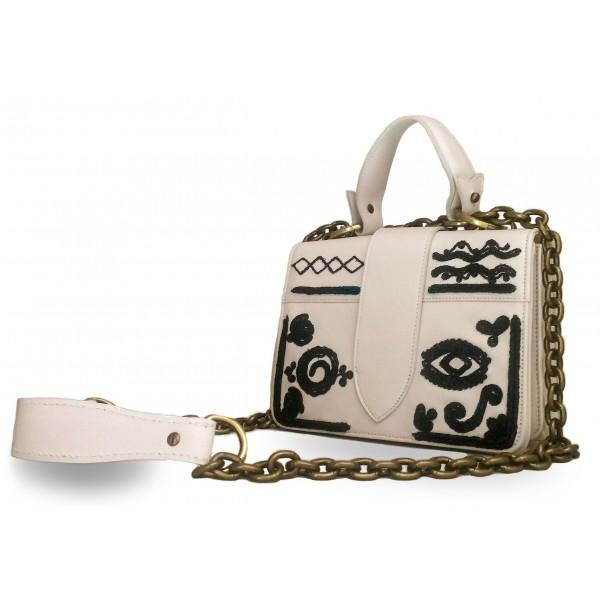 Kristina MC - Mini Bag - Borsa Pochette con Catena - Pelle di Vitello Ricamo a Mano Cornely Maya Messico - Artigianale