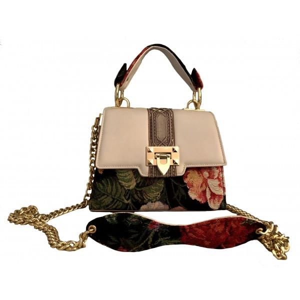 Kristina MC - Mini Bag Gioiello - Borsa Pochette con Catena - Pelle Tessuto Jaquard Passamanerie - Artigianale di Alta Qualità