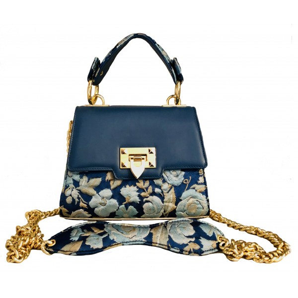 Kristina MC - Mini Bag - Clutch Bag with Chain - Leather Floral Brocade Fabric - High Quality Leather