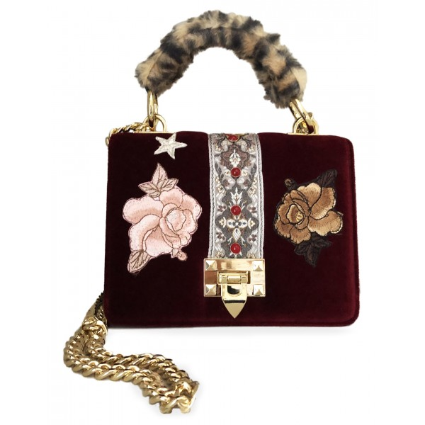 Kristina MC - Mini Bag Cahier - Clutch Bag with Chain - Velvet Saffiano Calfskin - Red Burgundy - High Quality Leather Craft