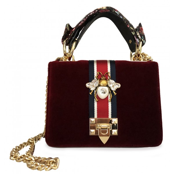 Kristina MC - Mini Bag Cahier - Clutch Bag with Chain - Velvet Gabardine Fabric - Red Burgundy - High Quality Craft