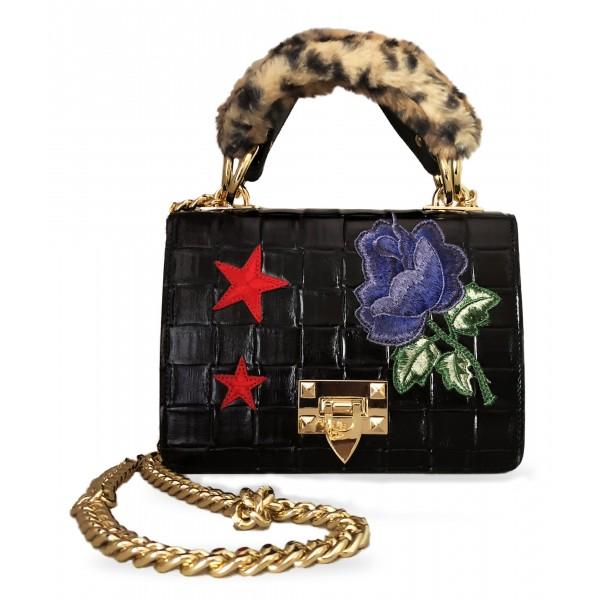Kristina MC - Mini Bag Cahier - Borsa Pochette con Catena - Vitello Intrecciato Punzonato - Artigianale in Pelle di Alta Qualità
