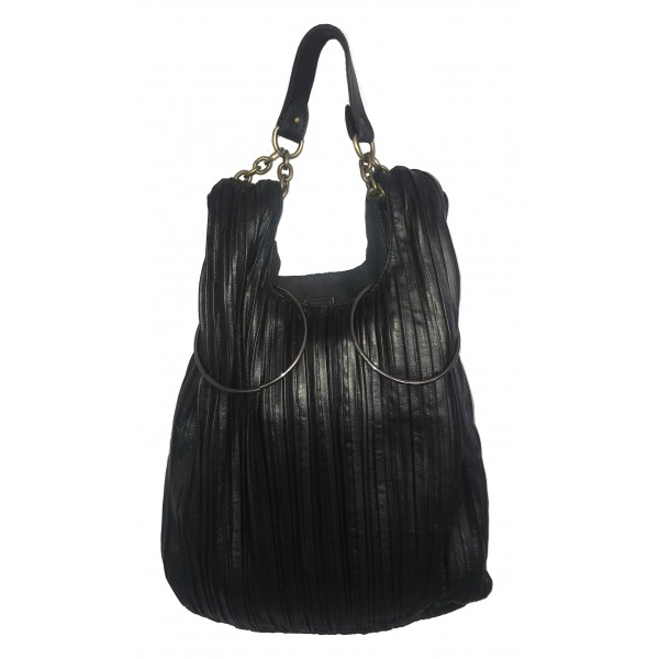 Kristina MC - Bucket Bag - Removable Handle and Shoulder Strap - Pleated Nappa Leather - High Quality Leather Craft