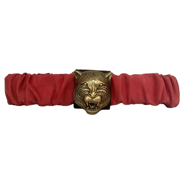 Kristina MC - Belt with Tiger-Shaped Application - Nabuk Nappa - Red - High Quality Leather Craft