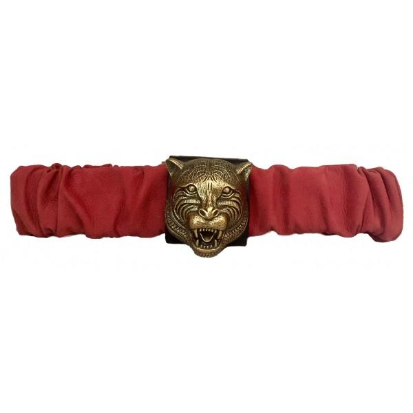 Kristina MC - Belt with Tiger-Shaped Application - Nabuk Nappa - Red - High Quality Leather Craft