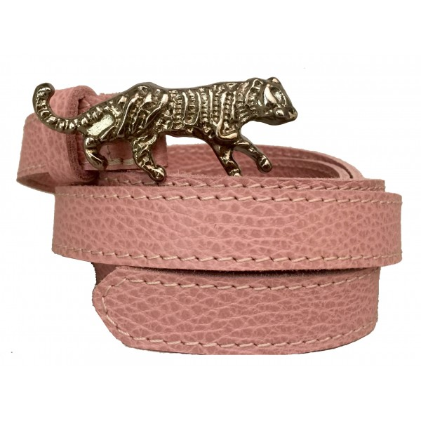 Kristina MC - Belt Double Loop Leopard-Shaped Buckle - Calfskin - Pink - High Quality Leather Craft