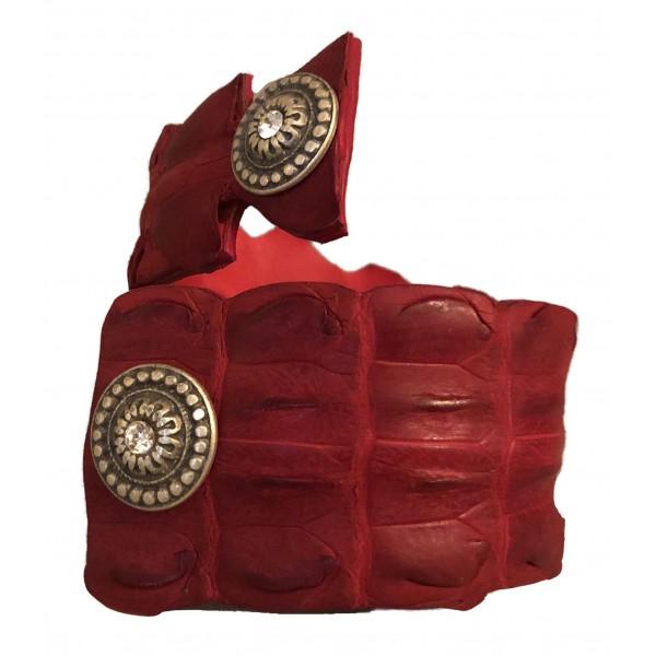Kristina MC - Bracciale in Coccodrillo a Forma di Serpente con Borchie - Rosso - Artigianale in Pelle di Alta Qualità