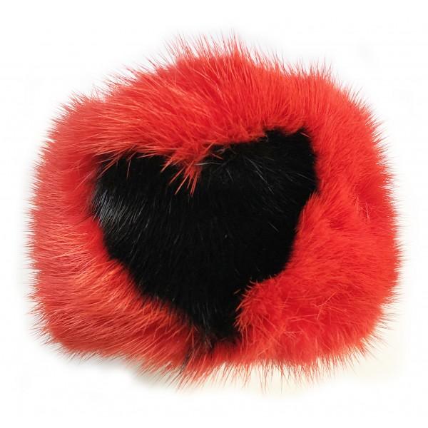 Kristina MC - Bracciale di Pelliccia Visone con Intarsio a Forma di Cuore - Rosso - Artigianale in Pelle di Alta Qualità