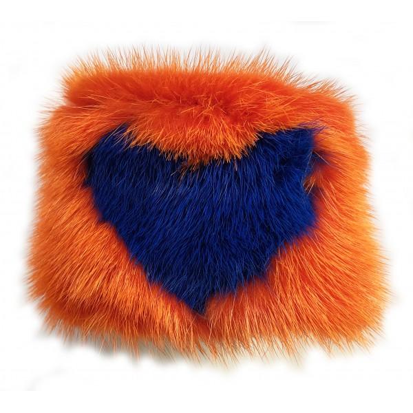 Kristina MC - Bracciale di Pelliccia Visone con Intarsio a Forma di Cuore - Arancio - Artigianale in Pelle di Alta Qualità