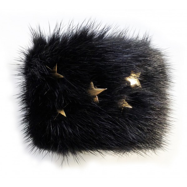Kristina MC - Mink Fur Bracelet with Star-Shaped Studs - Black - High Quality Leather Craft