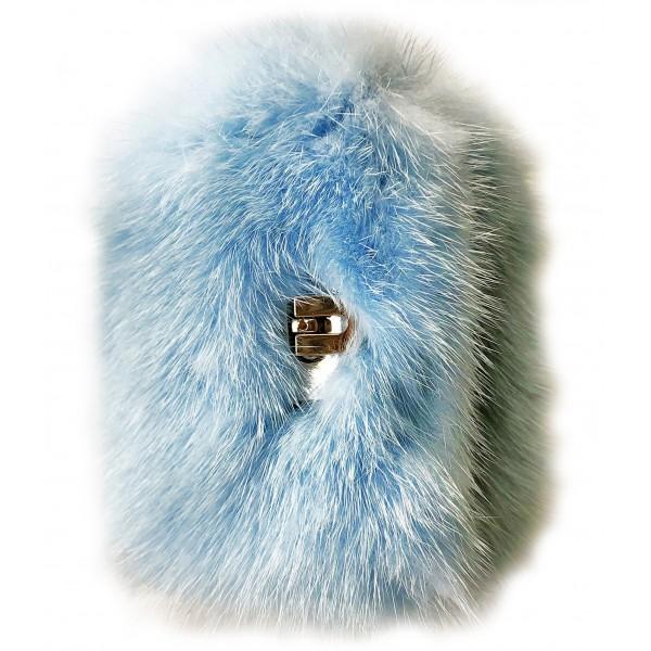 Kristina MC - Bracciale di Pelliccia Visone con Chiusura Centrale in Metallo - Azzurro - Artigianale in Pelle di Alta Qualità