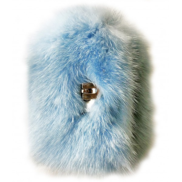 Kristina MC - Mink Fur Bracelet with Central Clasp - Light Blue - High Quality Leather Craft