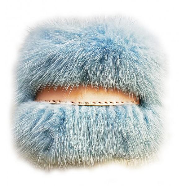 Kristina MC - Bracciale di Pelliccia Visone con Centrale di Pelle Nappa - Azzurro - Artigianale in Pelle di Alta Qualità