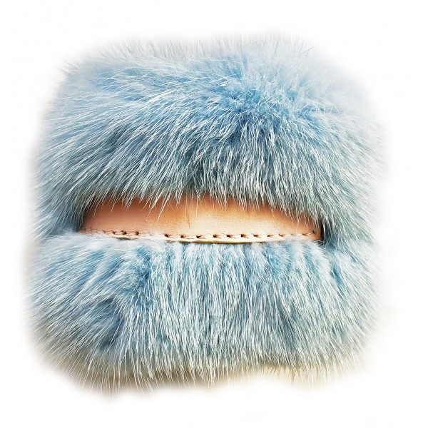 Kristina MC - Mink Fur Bracelet with Central Strip of Nappa Leather - Light Blue - High Quality Leather Craft