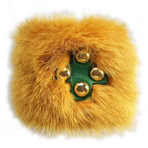 Kristina MC - Mink Fur Bracelet with Studs - Yellow Ochre - High Quality Leather Craft