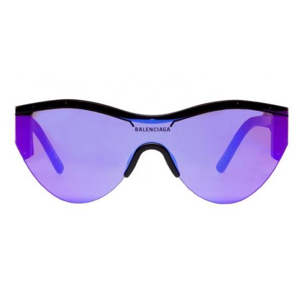 Balenciaga - Occhiali da Sole Ski Cat in Acetato Nero con Lenti Viola - Occhiali da Sole - Balenciaga Eyewear