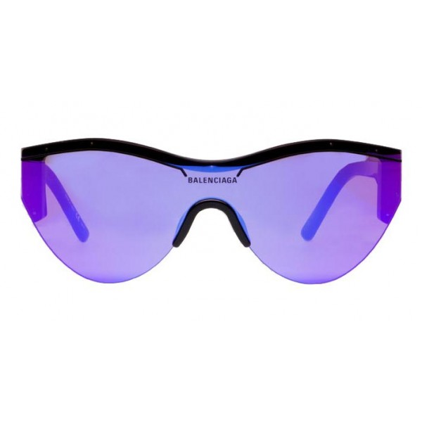Balenciaga - Ski Cat Sunglasses in Black Acetate with Purple Lenses  - Sunglasses - Balenciaga Eyewear