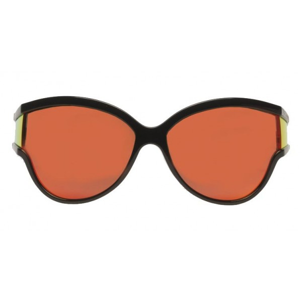 Balenciaga - Limited Round Sunglasses in Black Acetate with Orange Lenses - Sunglasses - Balenciaga Eyewear