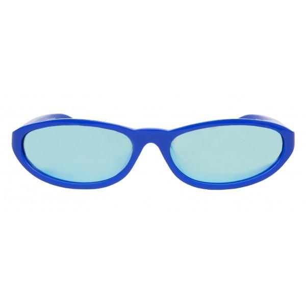 Balenciaga - Occhiali da Sole Neo Round in Acetato Blu Brillante con Lenti Blu Brillante - Occhiali da Sole - Balenciaga Eyewear