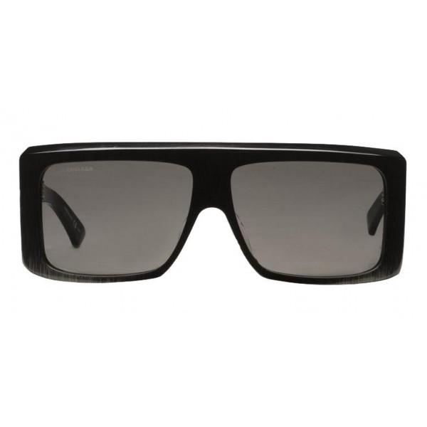 Balenciaga - Occhiali da Sole Thick Square in Acetato Grigio Scuro con Lenti Grigie - Occhiali da Sole - Balenciaga Eyewear